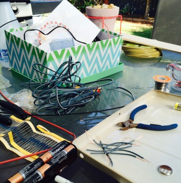 hours of wiring with speaker cable, heat shrink and soldering LEDs
