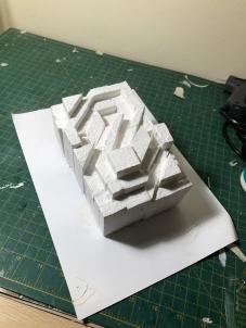 White balsa wood model